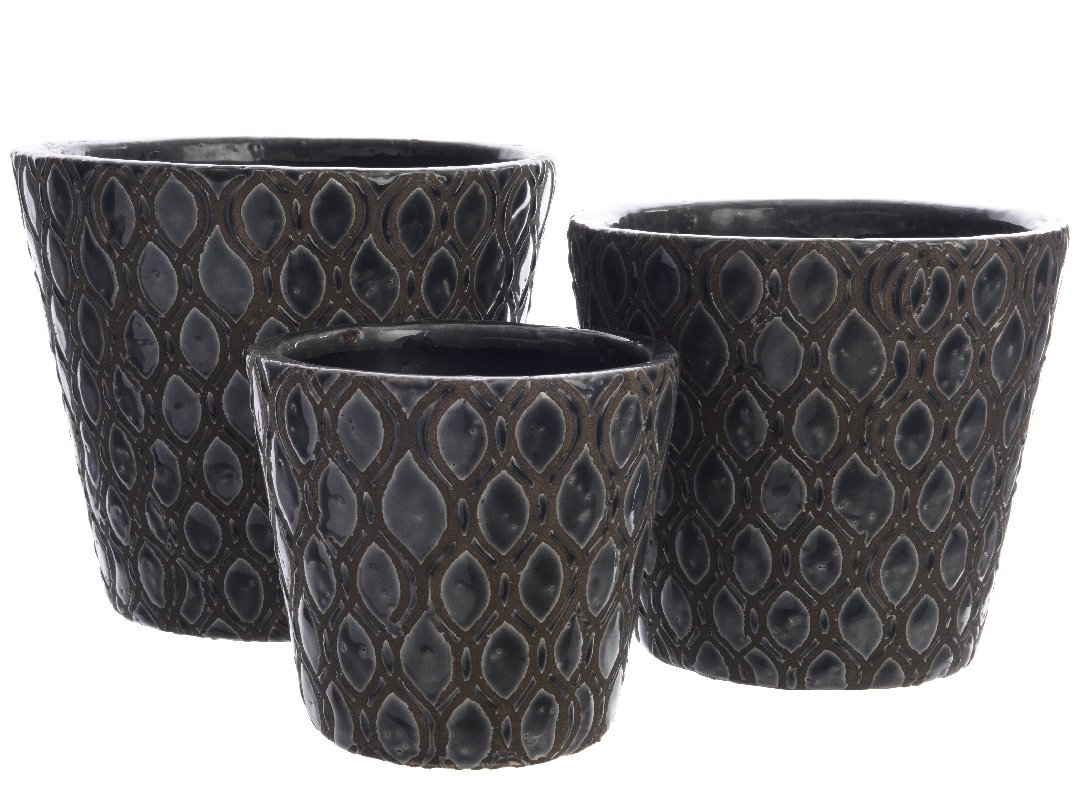 Set of 3 Terracotta Patterned Planters