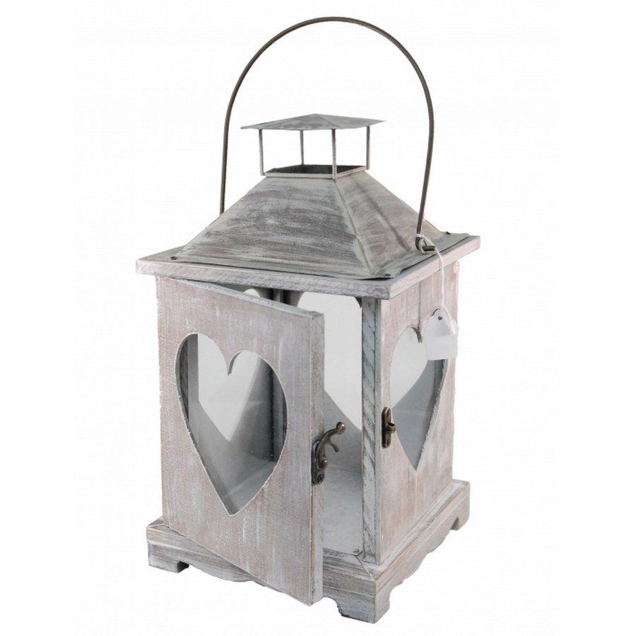 Wood Limewash Heart Lantern 34cm