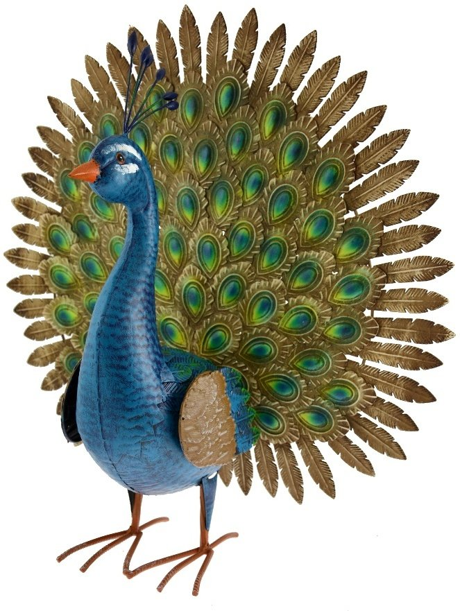 Metal Flaunting Garden Peacock