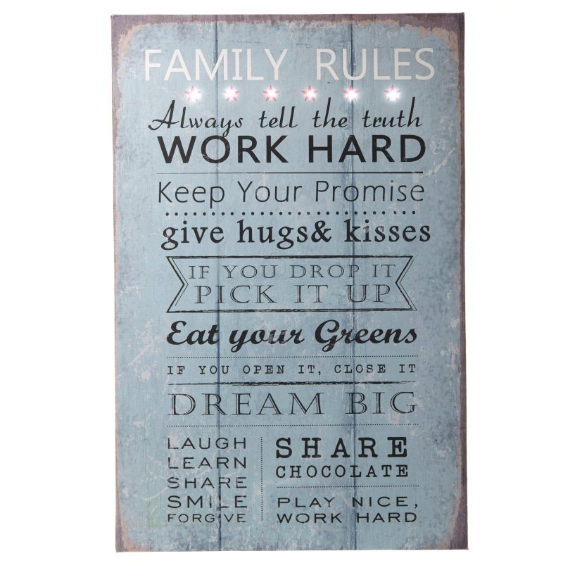 Light Up LED Family Rules Sign
