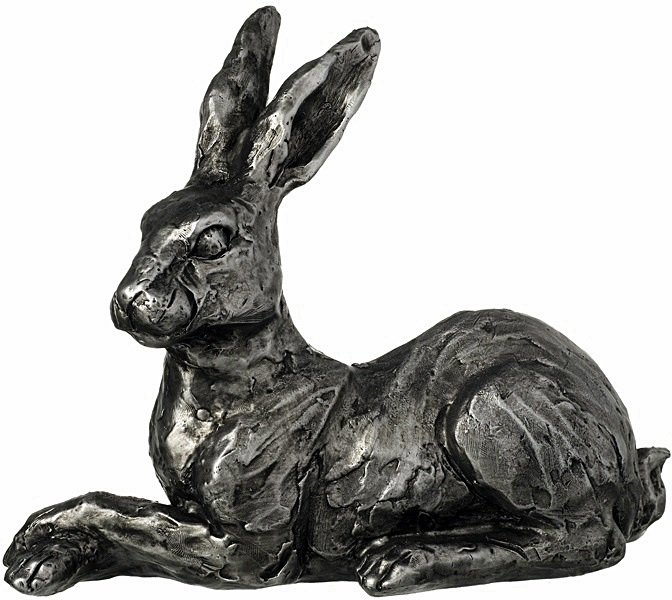 Distressed Silver Perked Hare Ornament 23cm