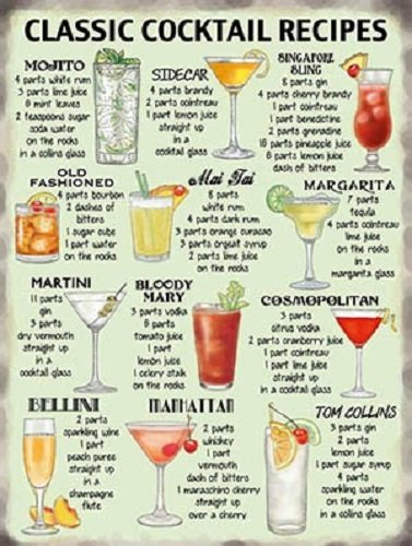 Classic Cocktails Recipe Sign 30cm x 40cm