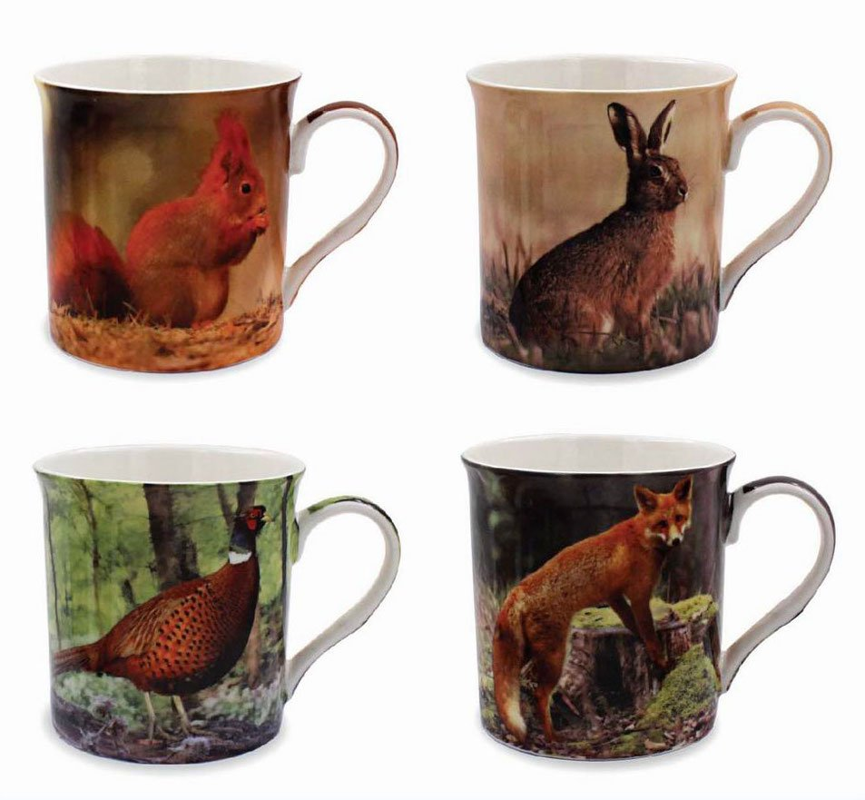Set Of 4 Wildlife Mugs