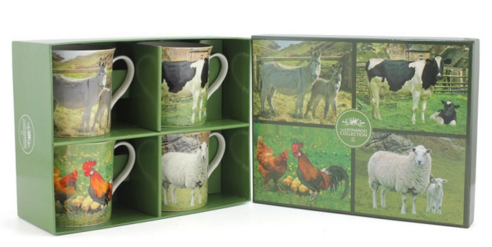 Set of 4 Farm Yard Animal Mugs