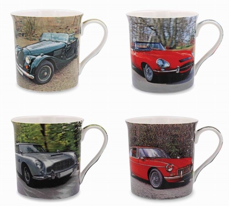 Set of 4 Car Mugs