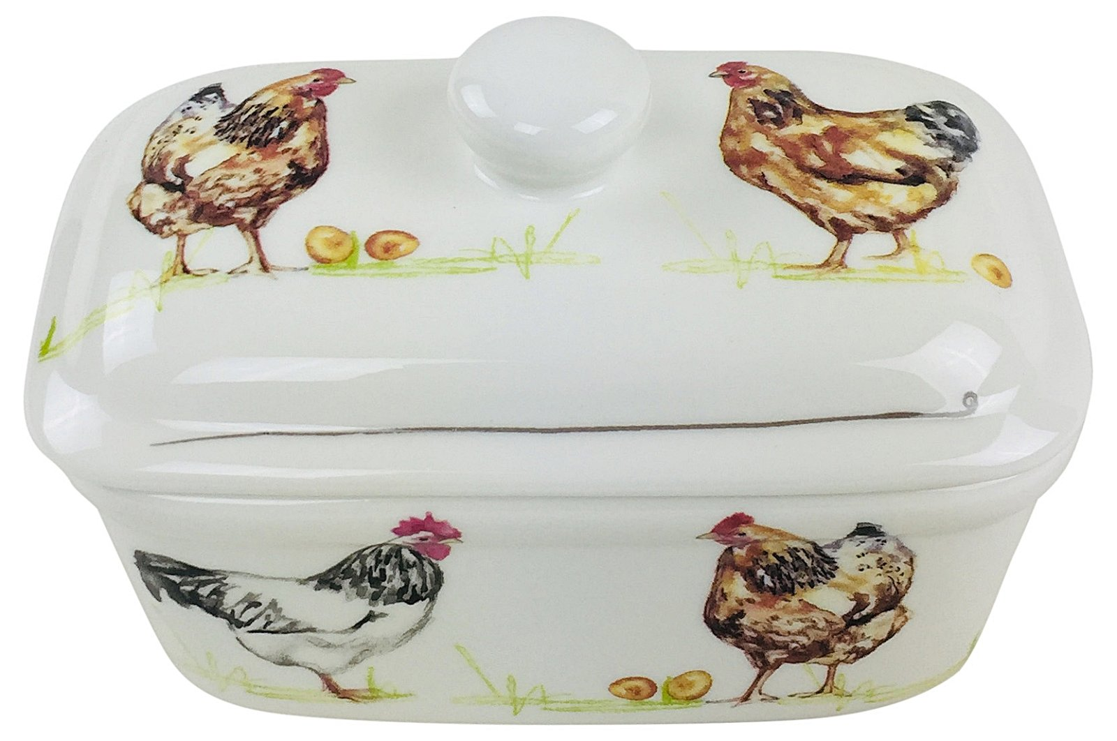 Ceramic Chickens Butter Dish