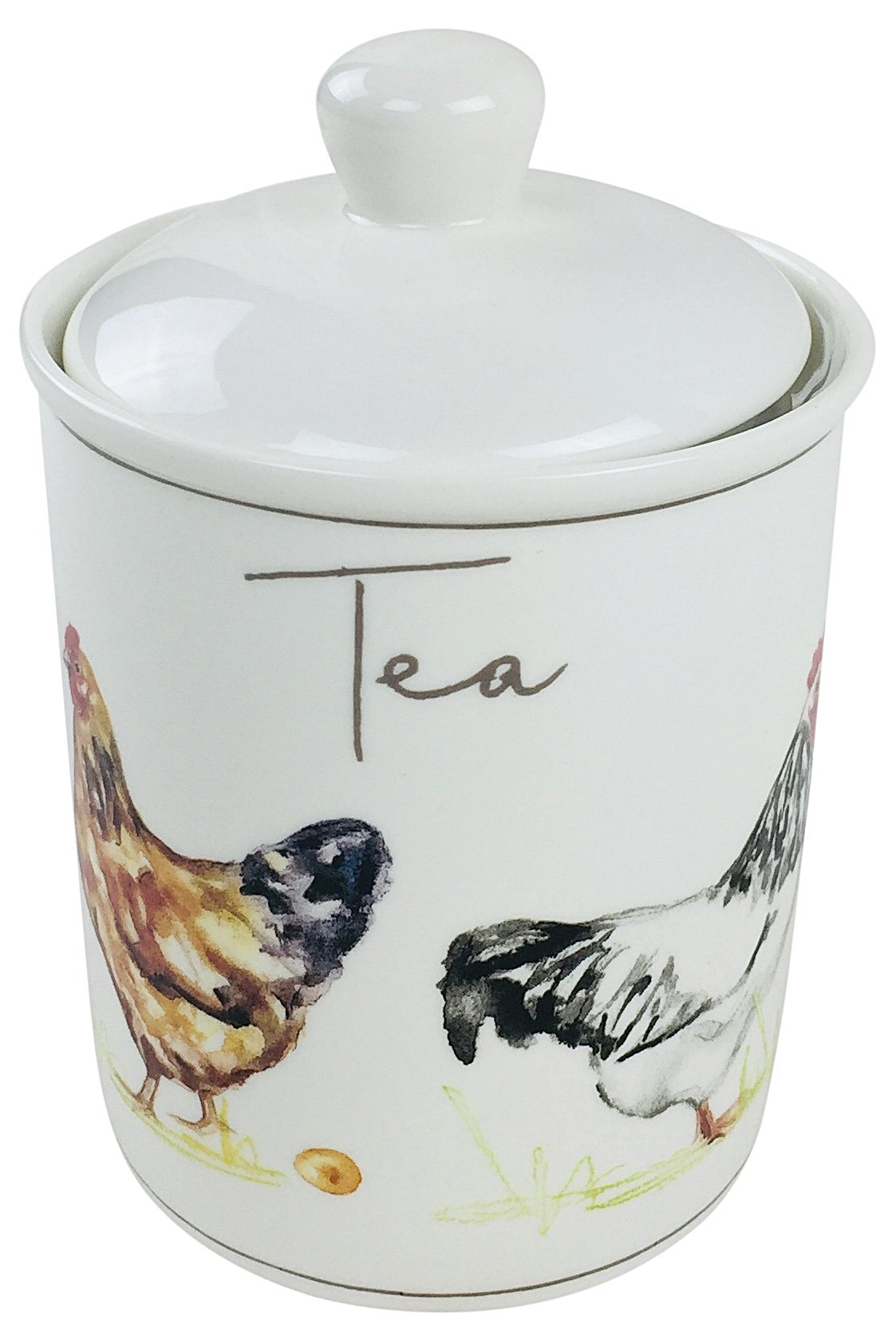 Country Chickens Ceramic Canister - Tea