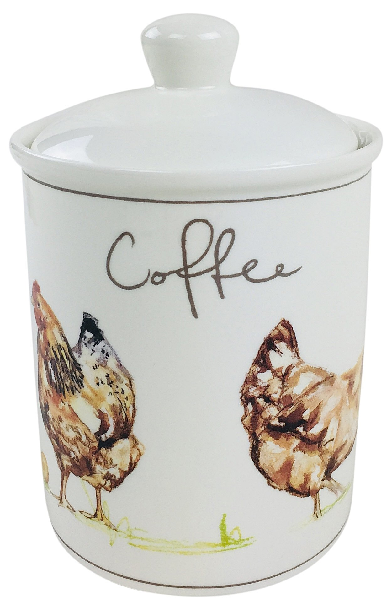 Country Chickens Ceramic Canister - Coffee