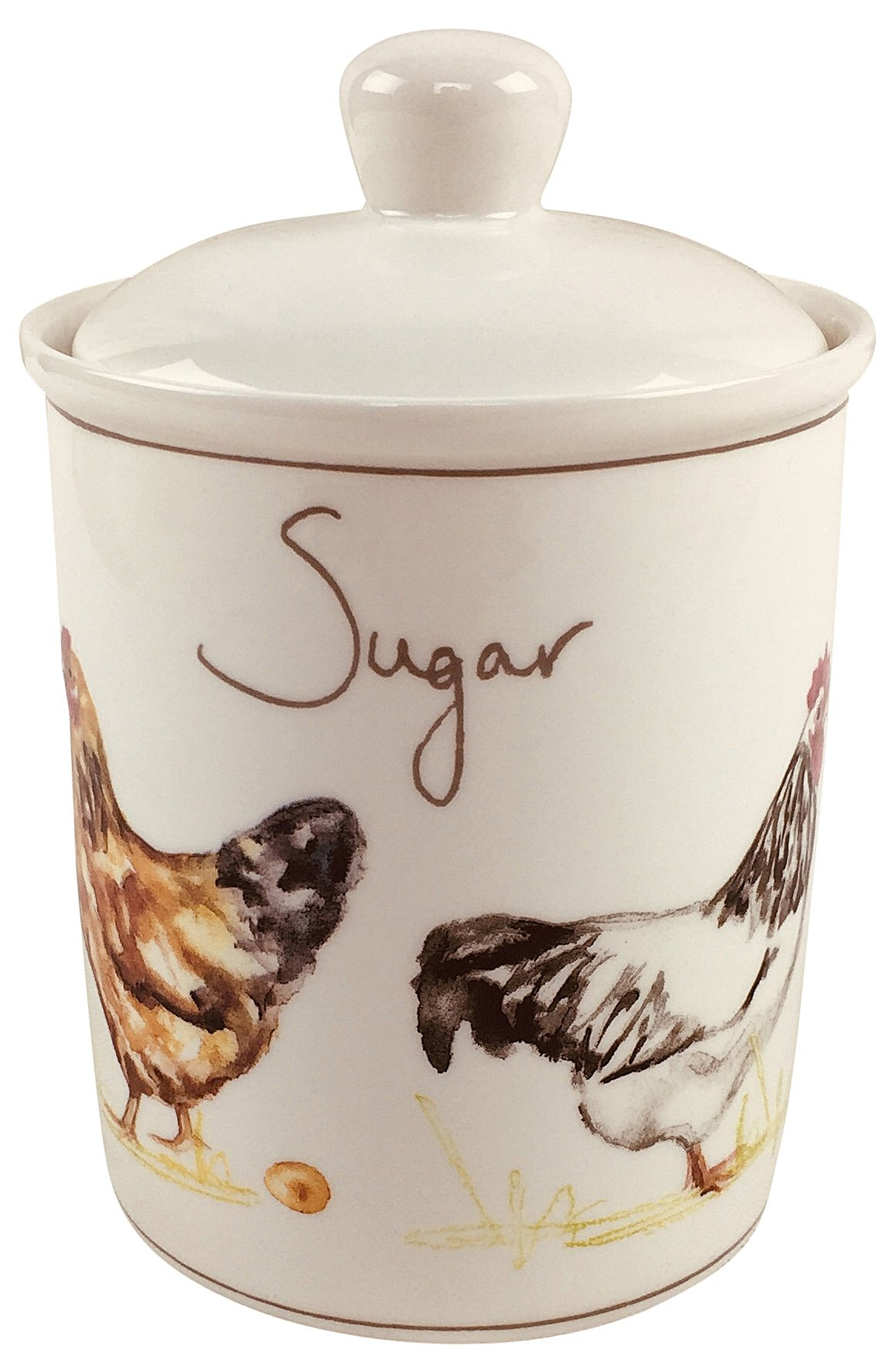 Country Chickens Ceramic Canister - Sugar