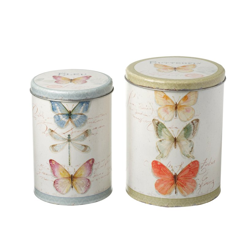 Set of 2 Butterfly Canister