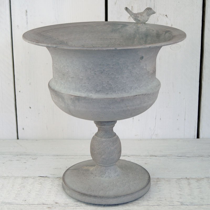 Metal Grey Planter with Bird 33cm