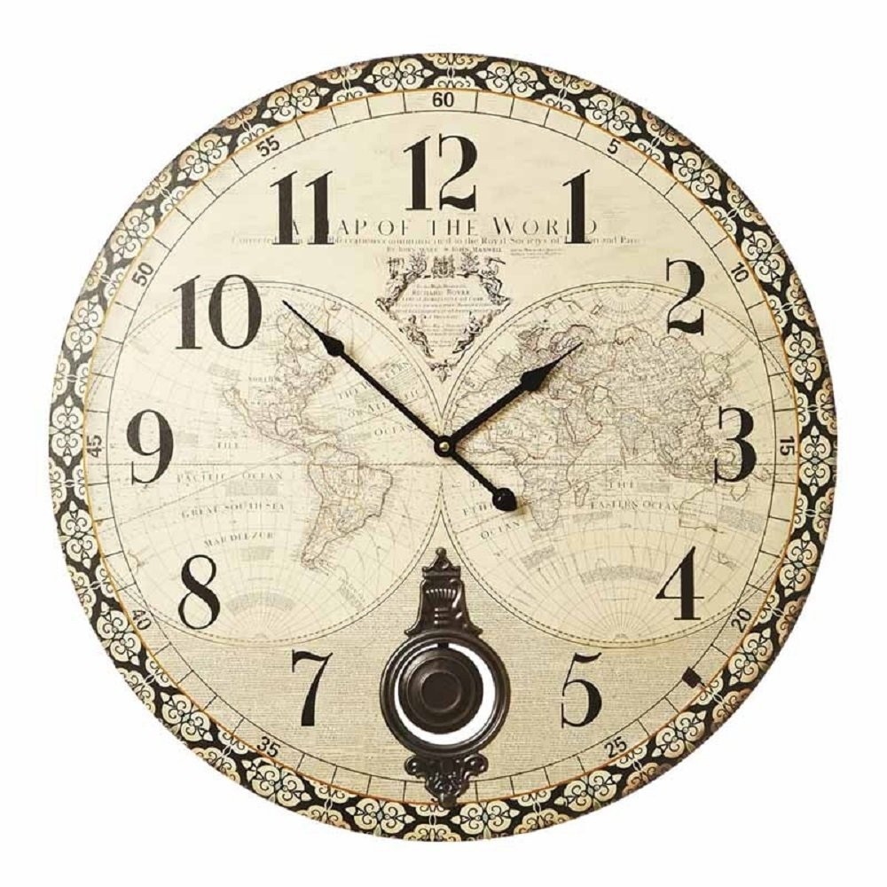 Rustic Atlas Clock with Pendulum 58cm