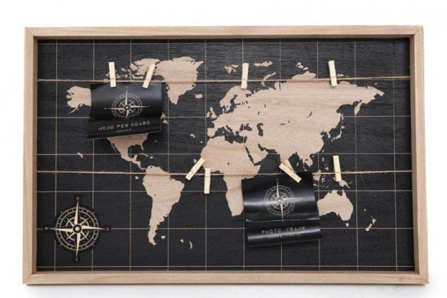 Large Black World Map Peg Board 55cm