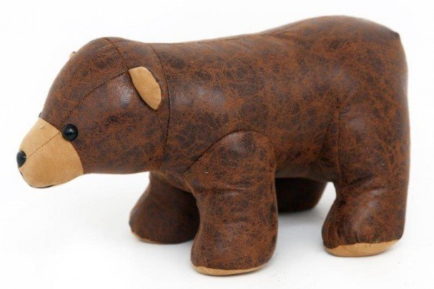 Faux Leather Bear Doorstop