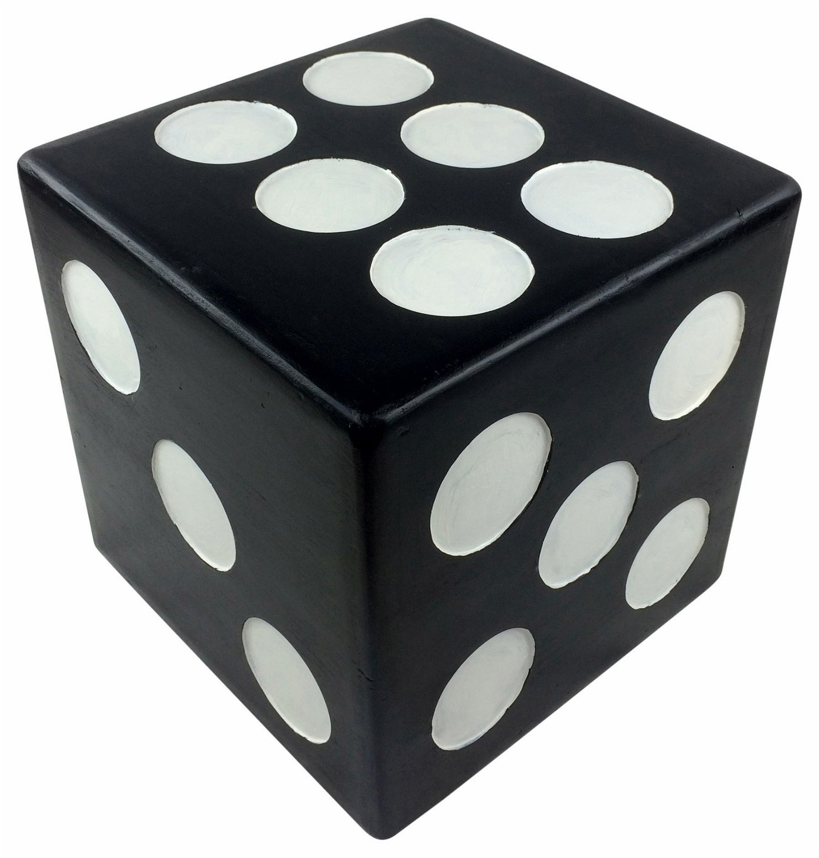 Black Wooden Dice Footstool Table 40cm