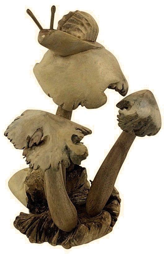 Mushroom on stem with Snail Ornament