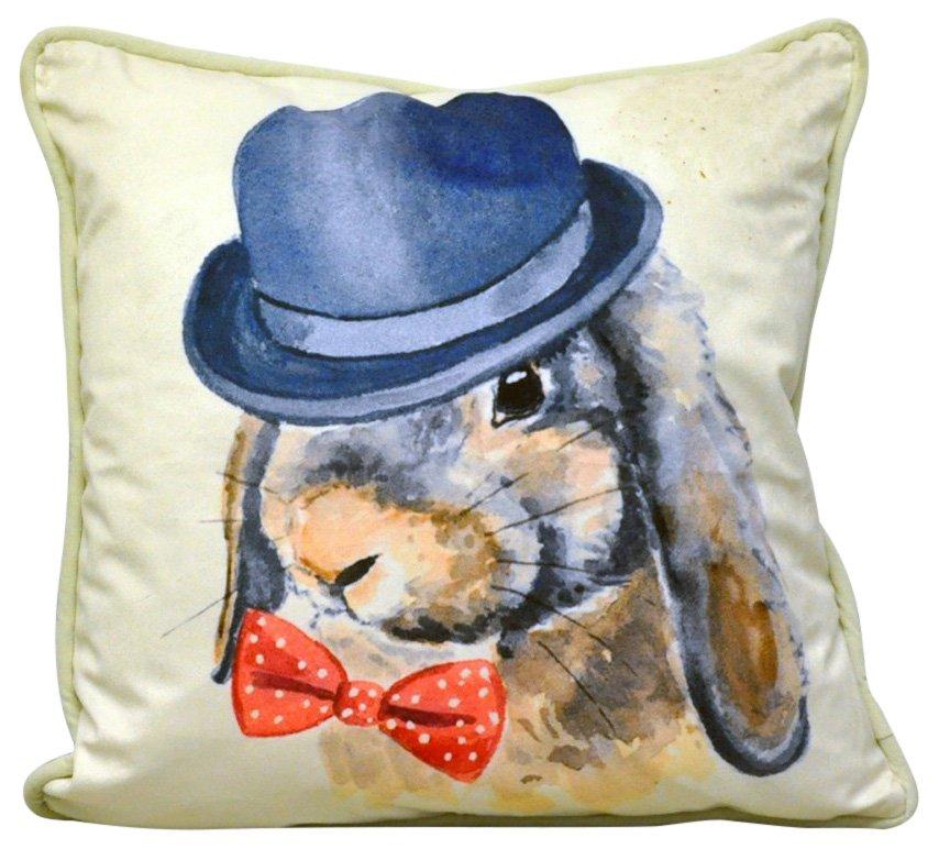 Bow Tie & Bowler Rabbit Cushion 45cm
