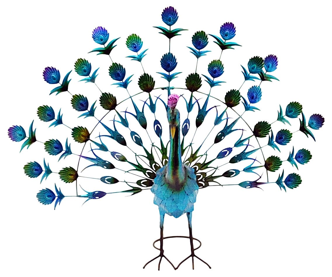 "Metal Painted Peacock Garden Ornament Blue / Green 27"""