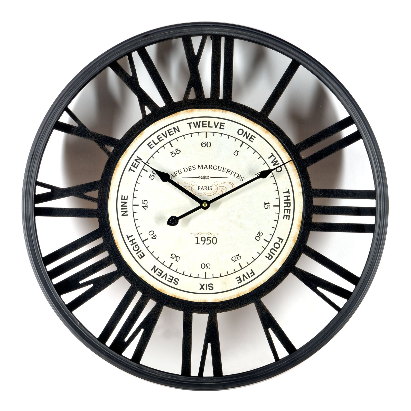 Black Metal/Wood Wall Clock 60cm