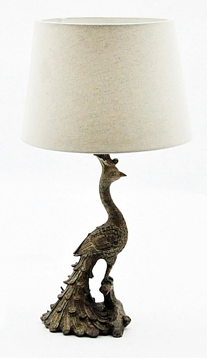 Golden Peacock Table Lamp And Shade 62cm