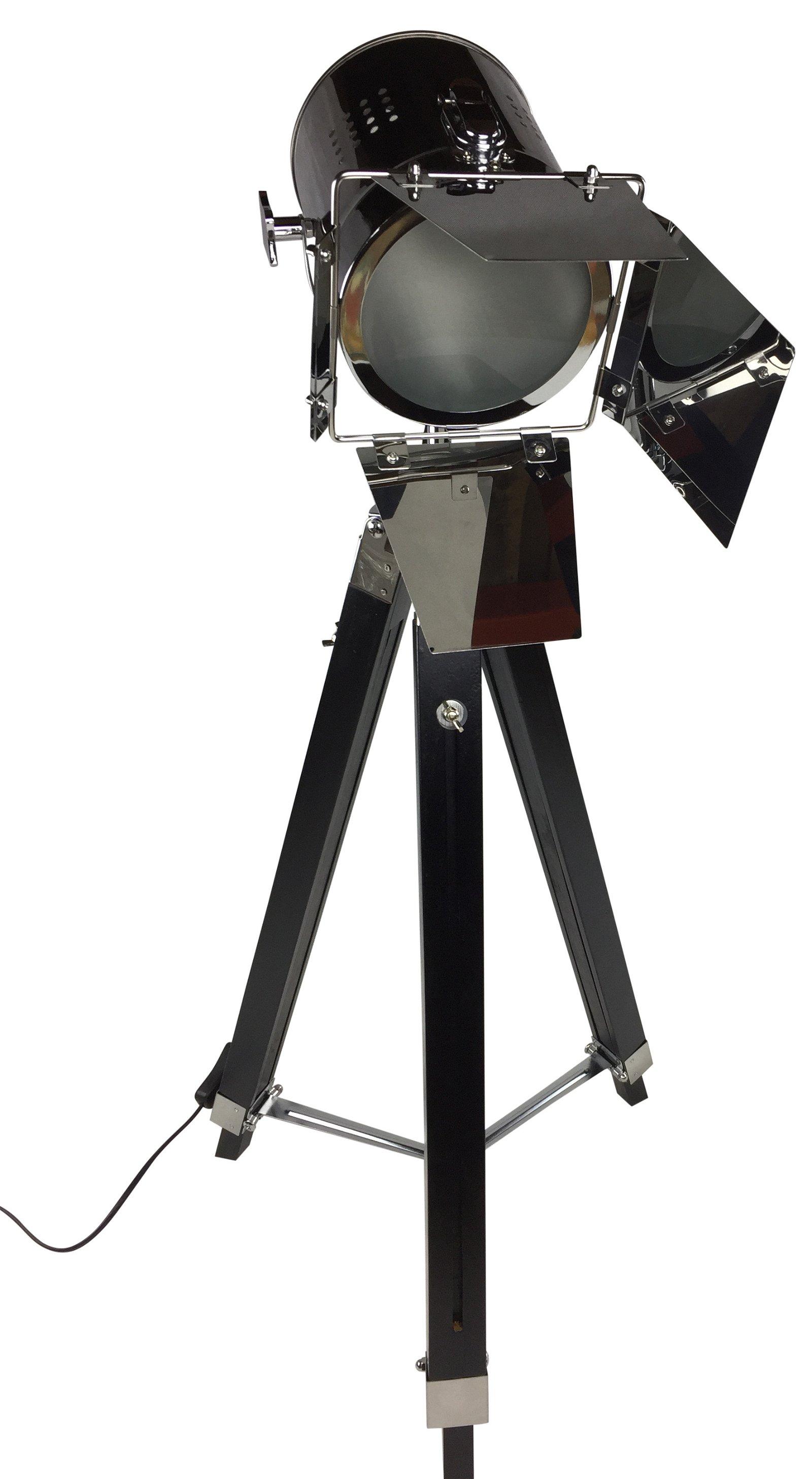 Black Floor Standing Tripod Lamp 140cm