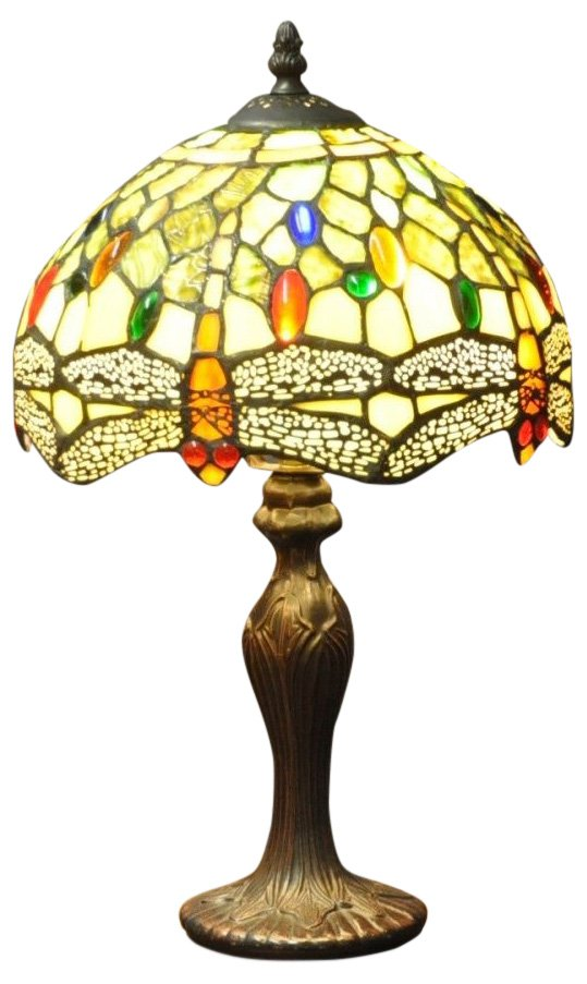 "Green Dragonfly Tiffany Lamp 10"""