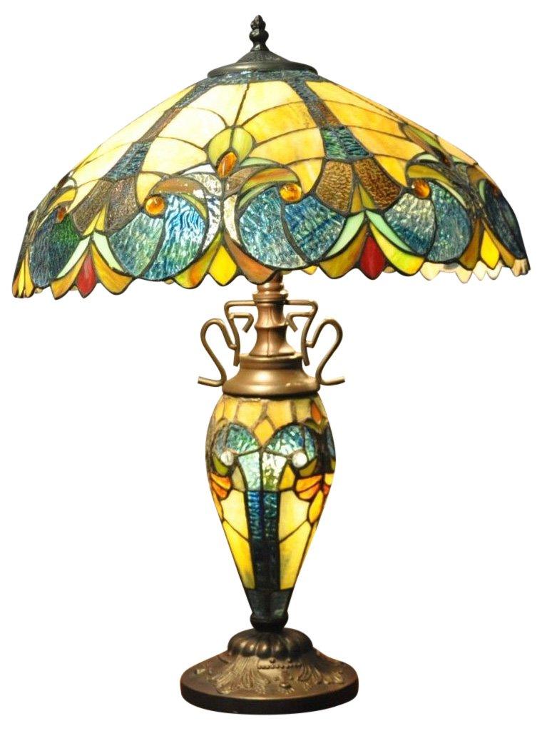 Blue & Yellow Double Tiffany Lamp 68cm