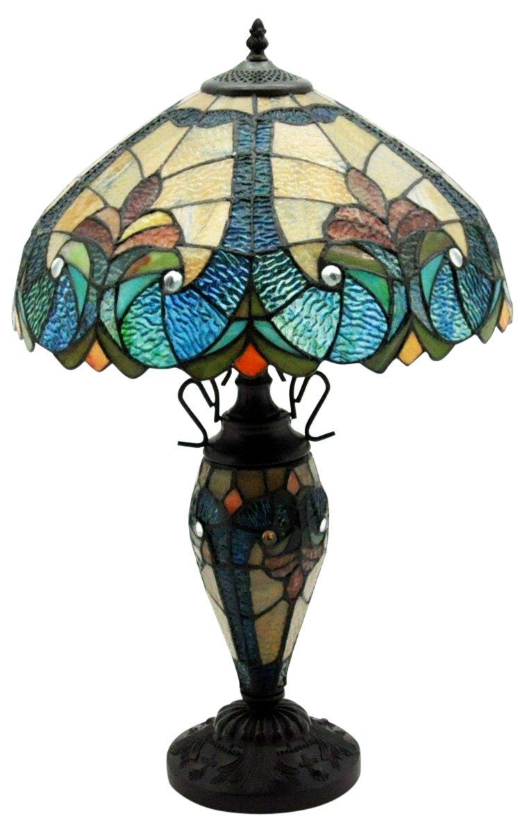 "Dark Blue & Yellow Double Tiffany Lamp 16"""