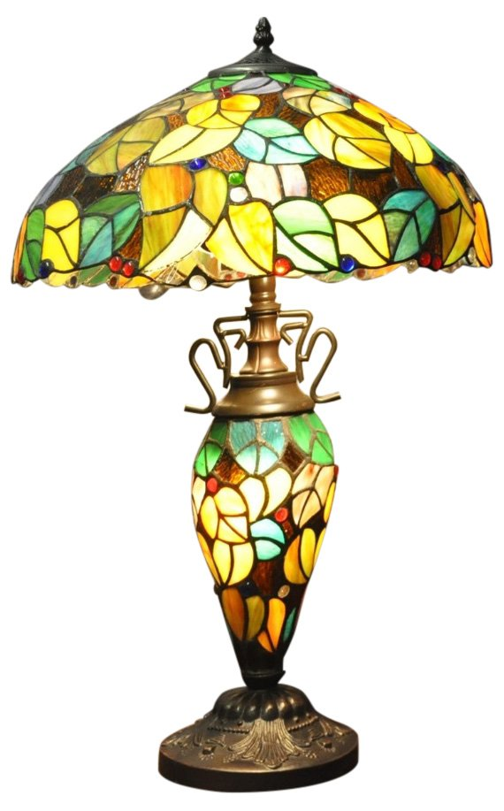 "Multi Coloured Double Tiffany Lamp 16"""