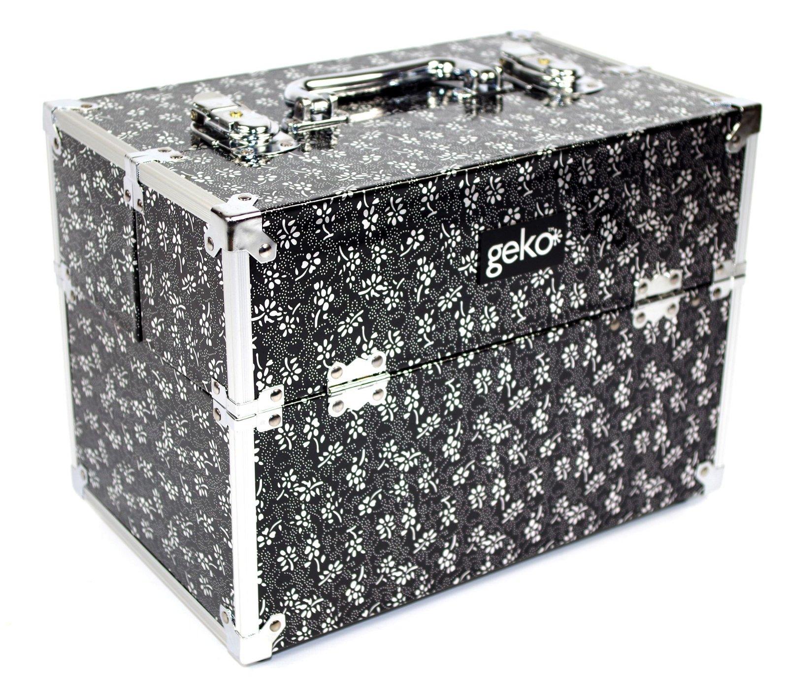 Vanity Case / Makeup Box Silver / Black Flowers