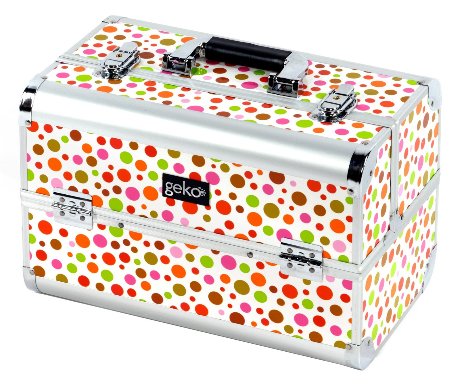 Vanity Case / Makeup Box Rainbow Polka Dot