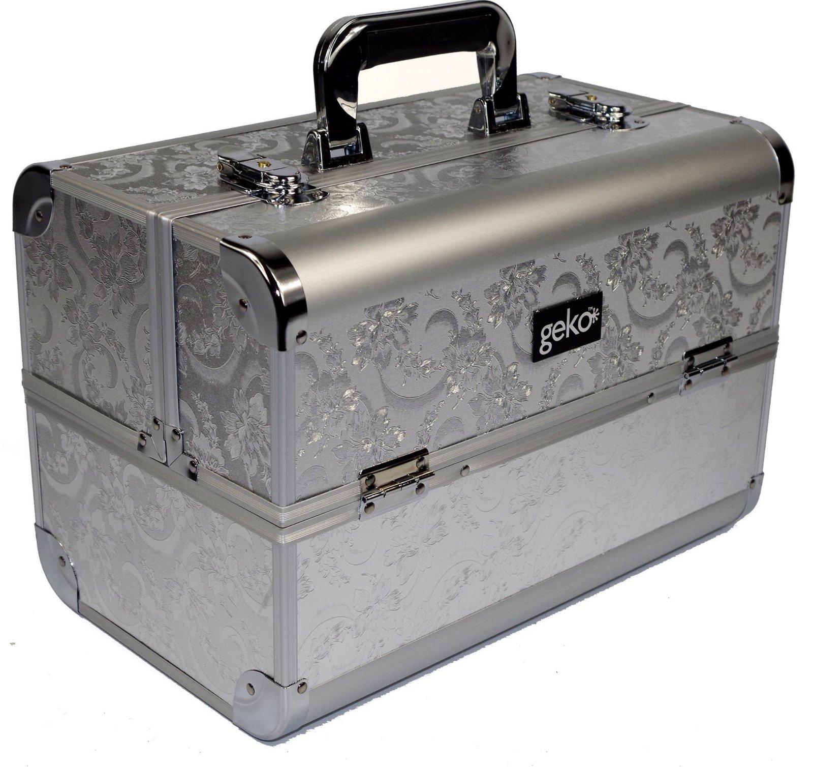 Vanity Case / Makeup Box Silver Leaf Design