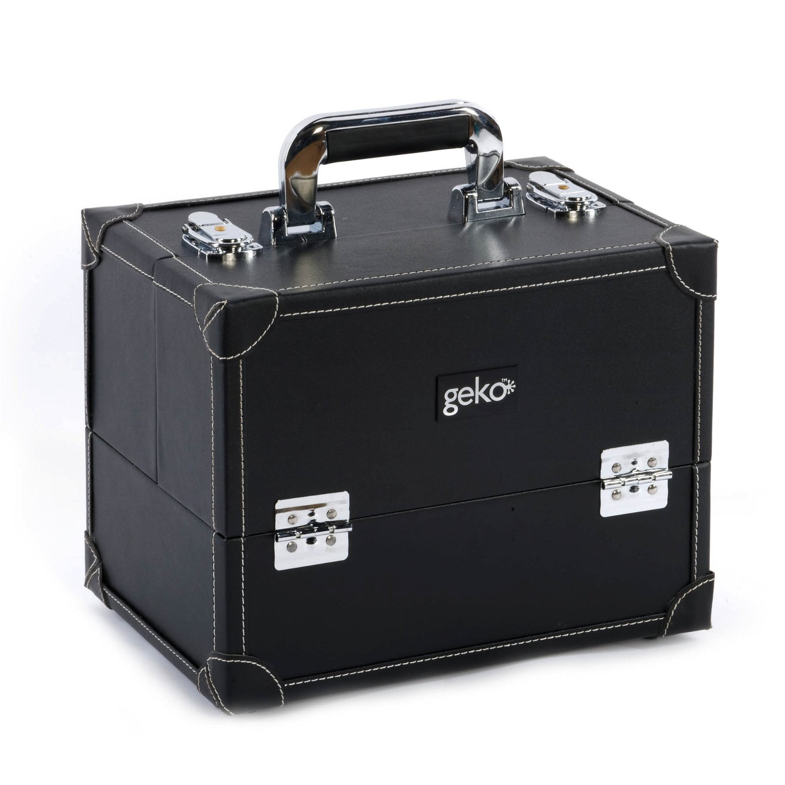 Vanity Case / Makeup Box Box Black Faux Leather