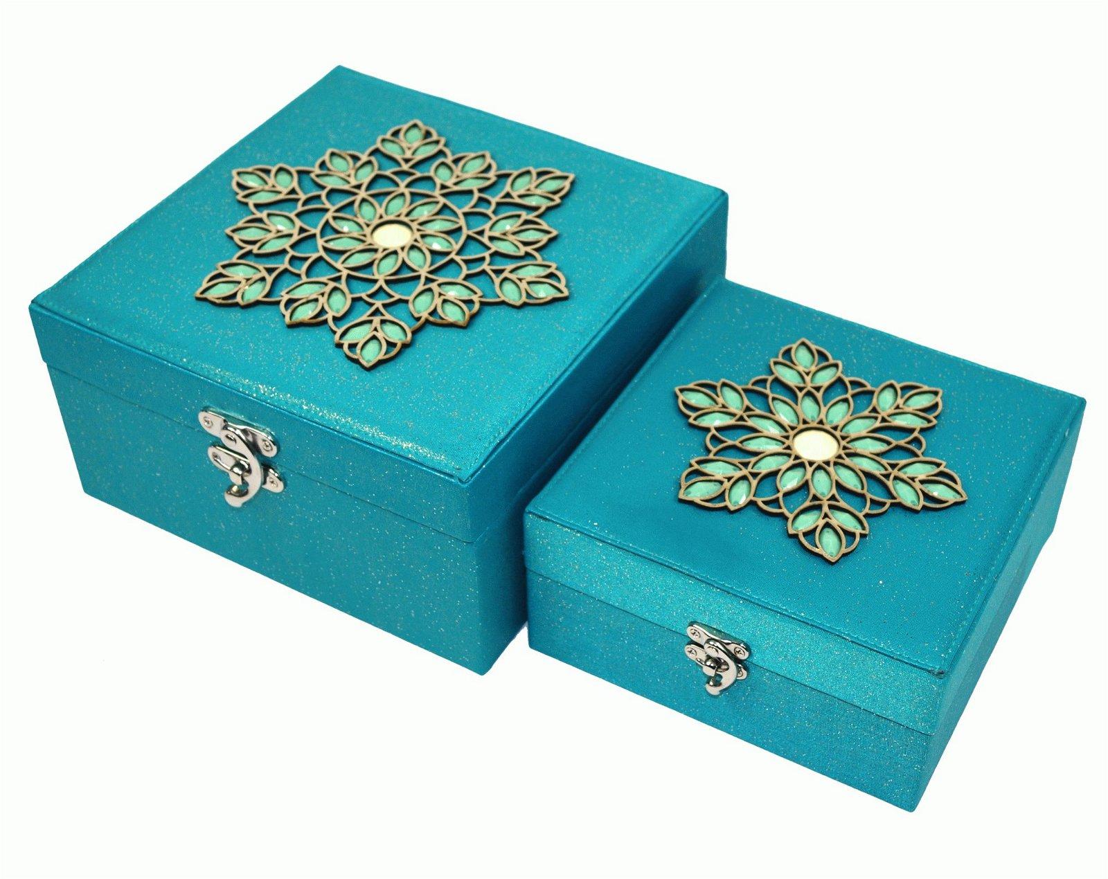 2 x Aqua Jewelled Storage Boxes 18cm & 22cm
