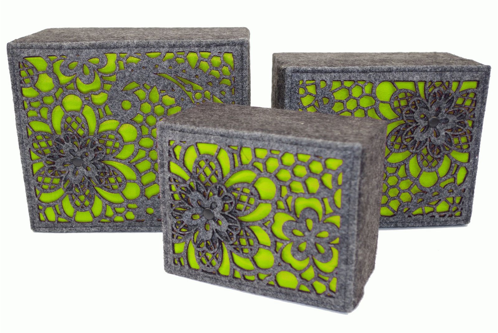 3 x Lime Luxury Storage Boxes