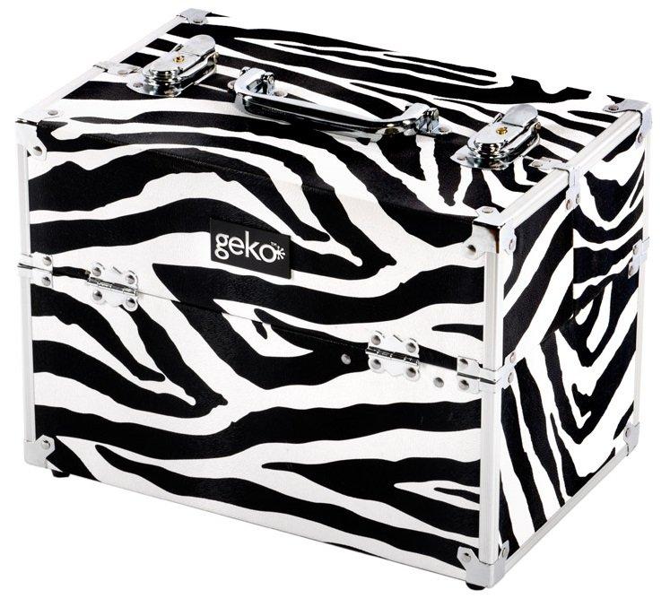 Vanity Case / Makeup Box Silver / Zebra