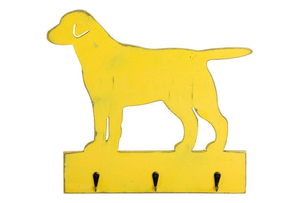 Vintage Dog Shape Yellow Hanger with 3 Hooks 36cm