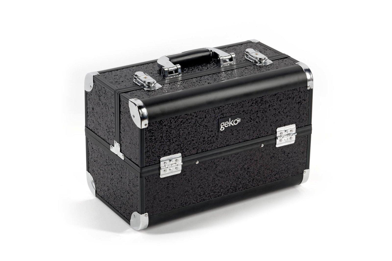 Vanity Case / Makeup Box Heavy Duty Black Glitter
