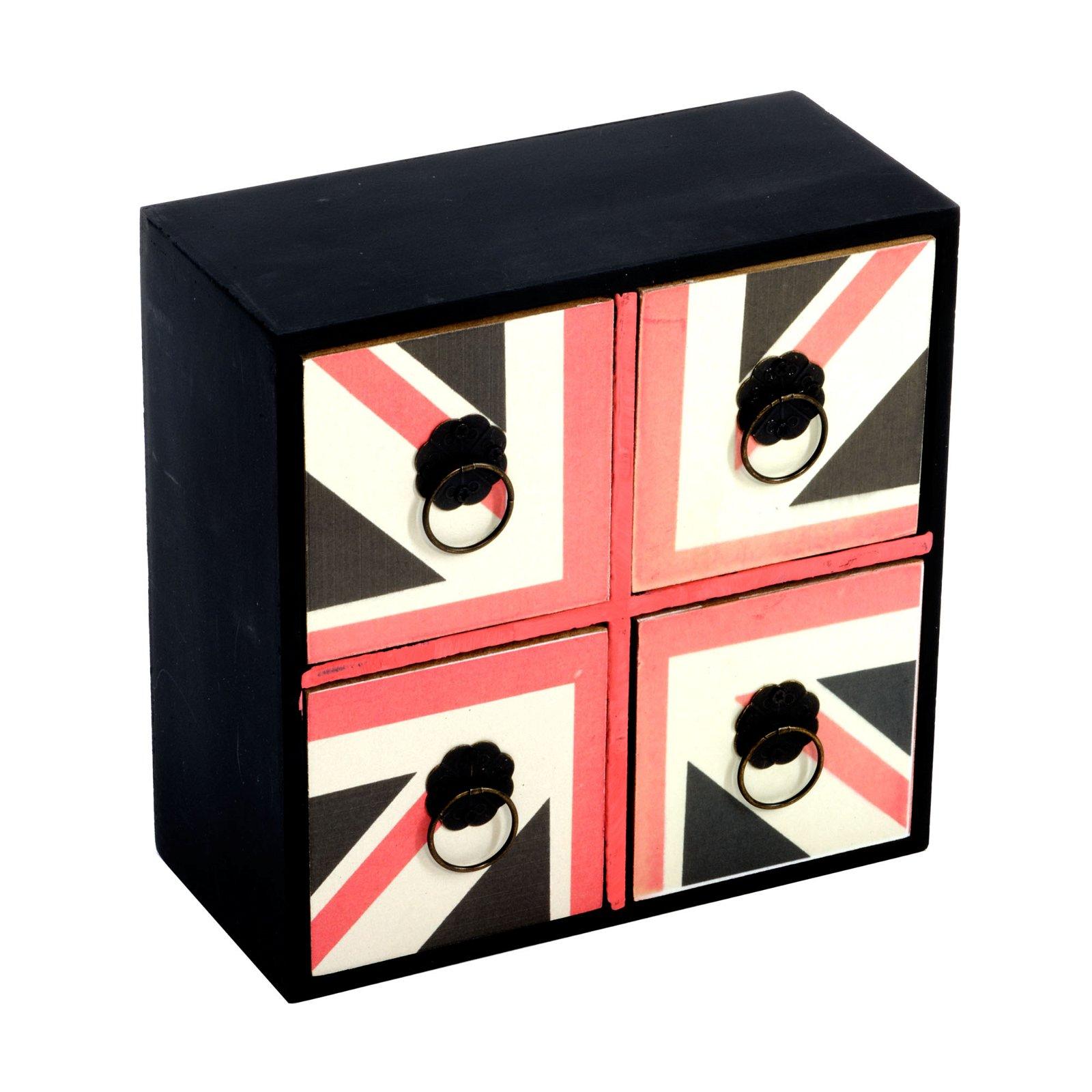 Office Organiser, Set of 4 Drawers Union Jack Design