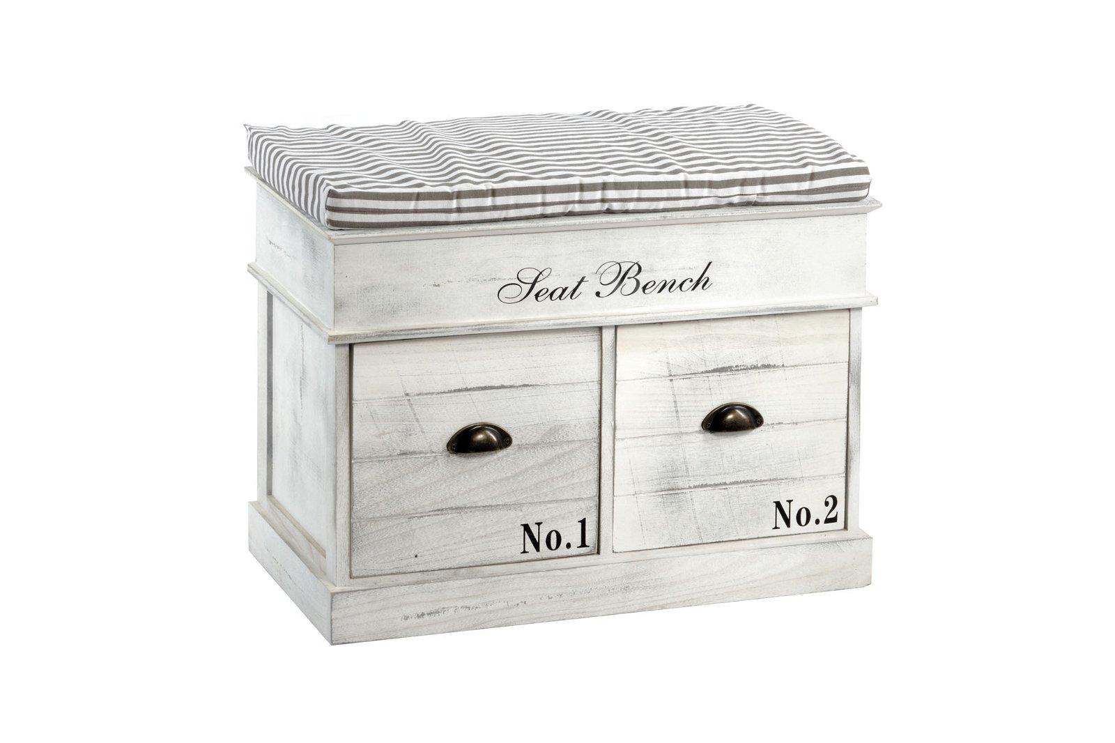 White Wood Seat Bench 2 Drawers 70 x 35 x 50cm