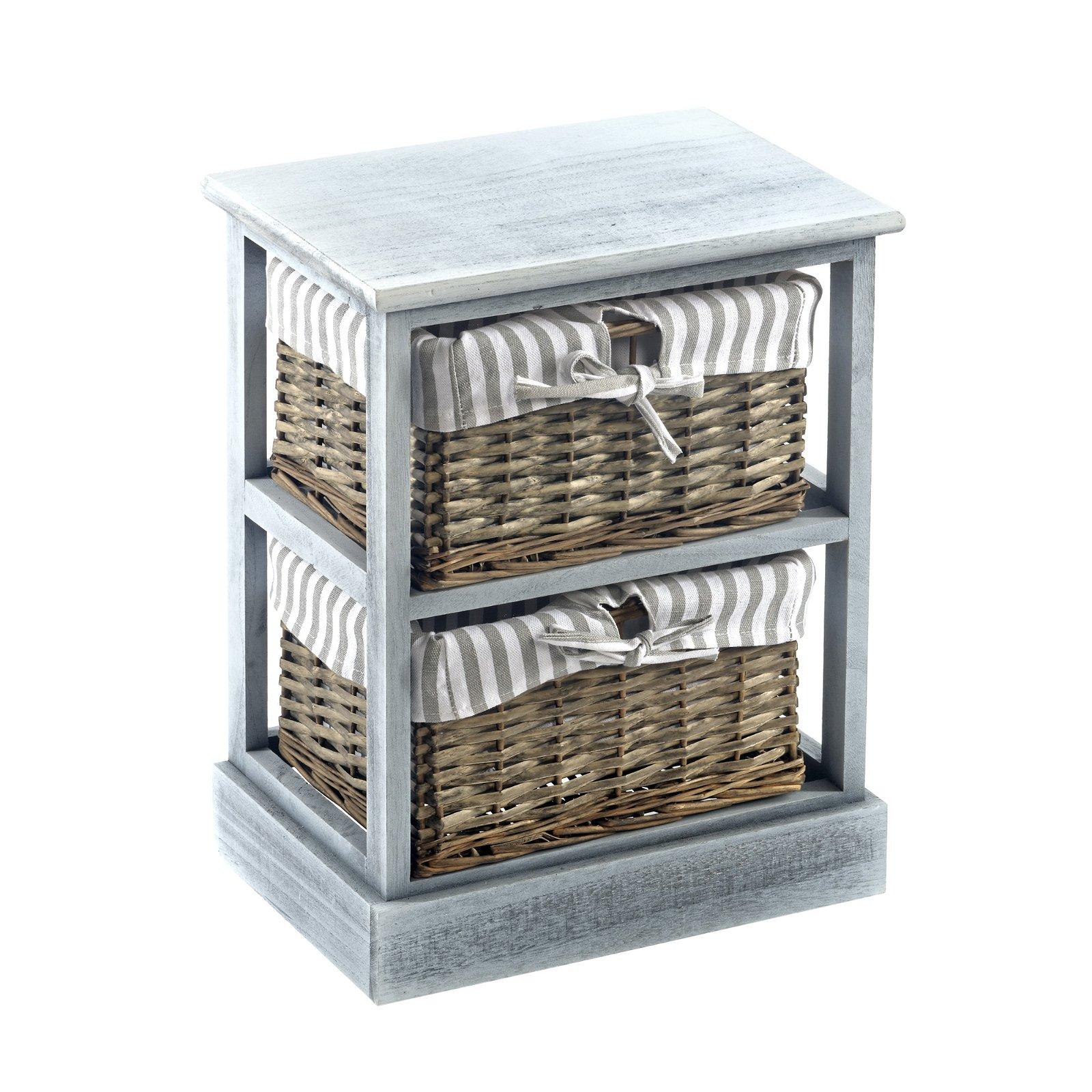 Grey Shabby Chic 2 Basket Wood Cabinet