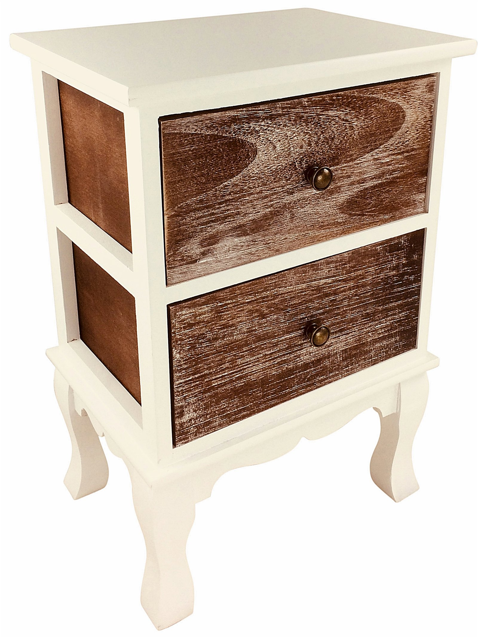 White Wooden Cabinet With 2 Drawers 56cm