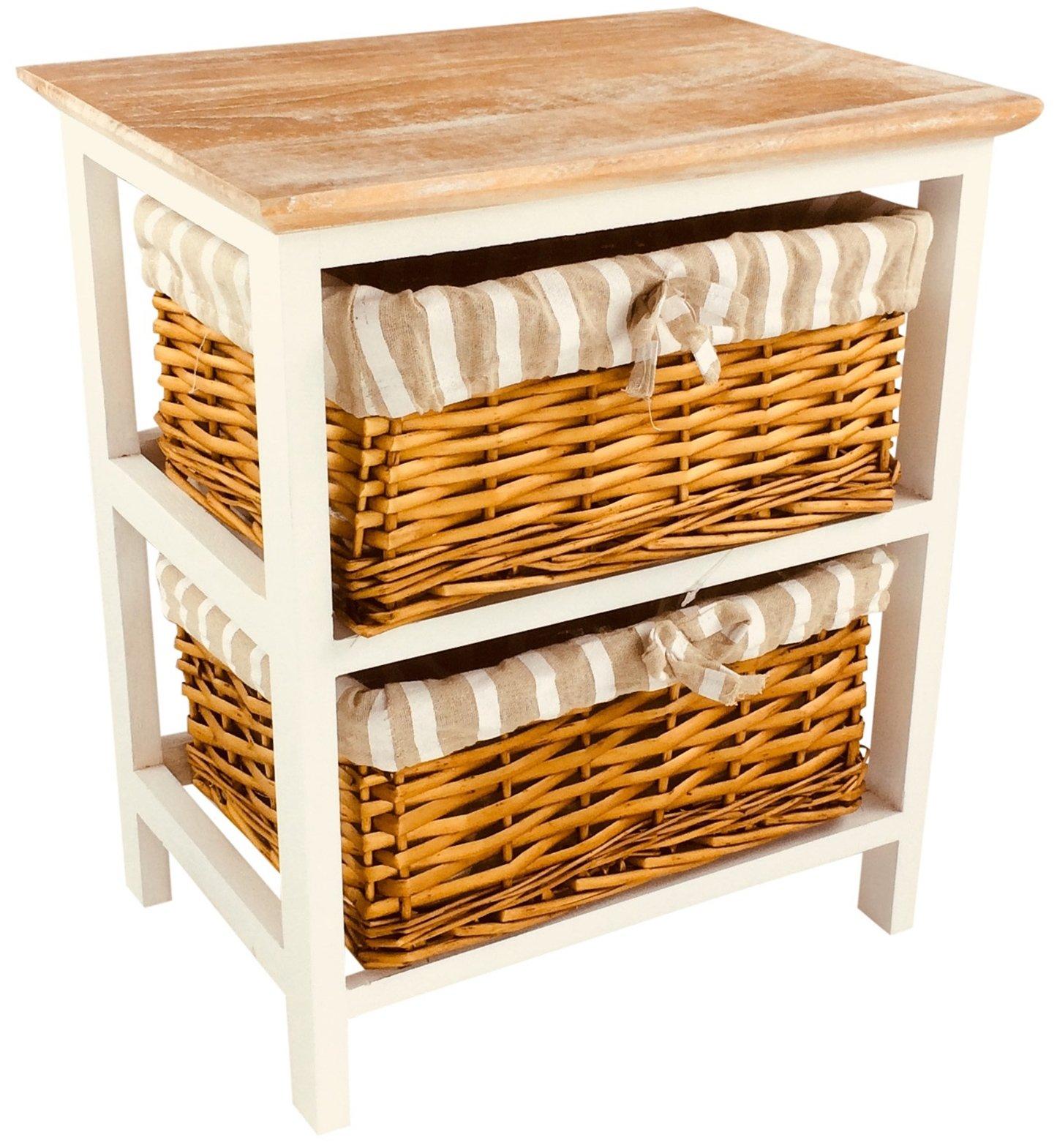 Wooden Storage Cabinet With 2 Baskets 44cm