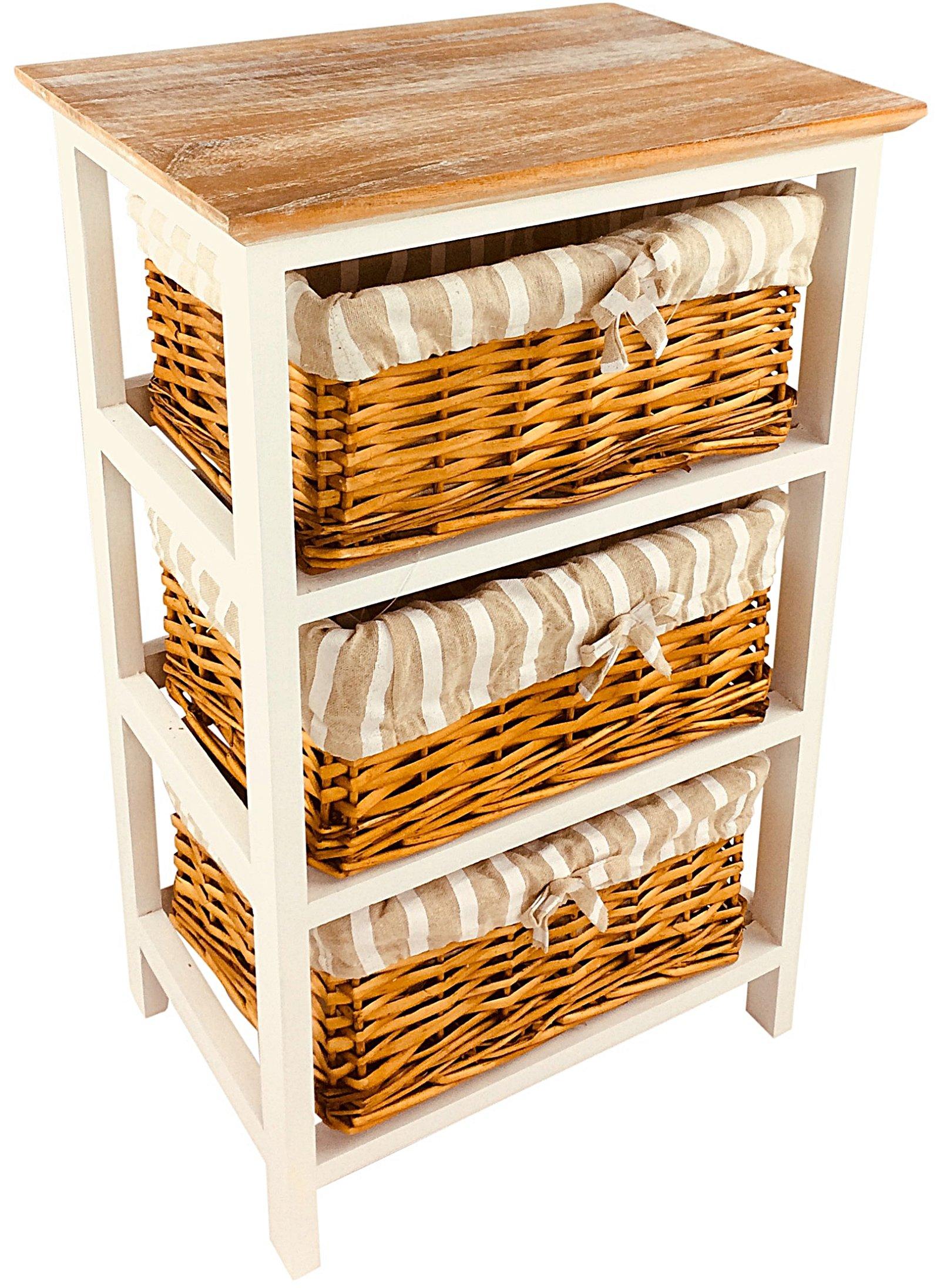 Wooden Storage Cabinet With 3 Baskets 62cm