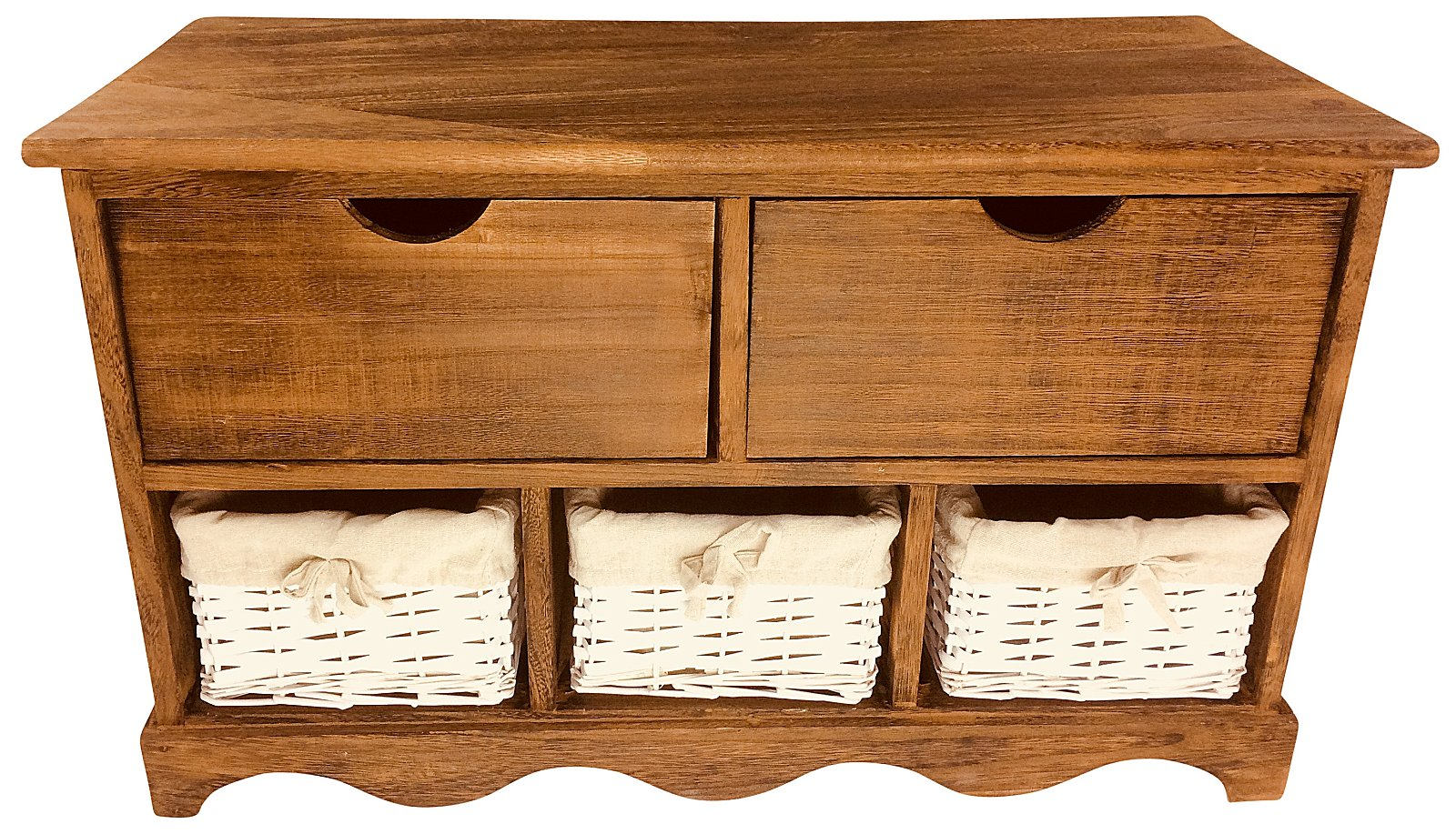 Wood Cabinet With 3 Baskets And 2 Drawers 72cm
