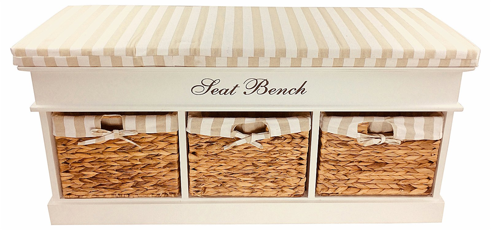 Wood Storage Bench With 3 Baskets & Cushion 105cm
