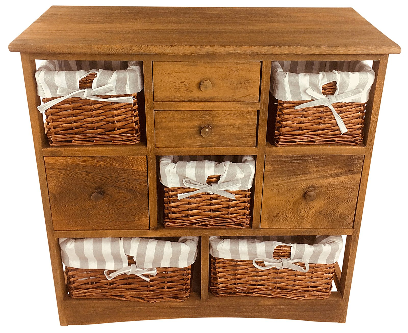 Wood Cabinet With 5 Baskets & 4 Drawers 73cm