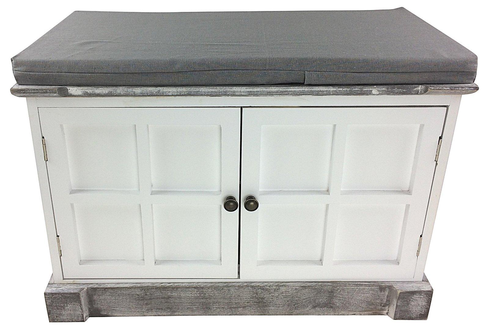 White Wooden Storage Bench With Cushion 69cm