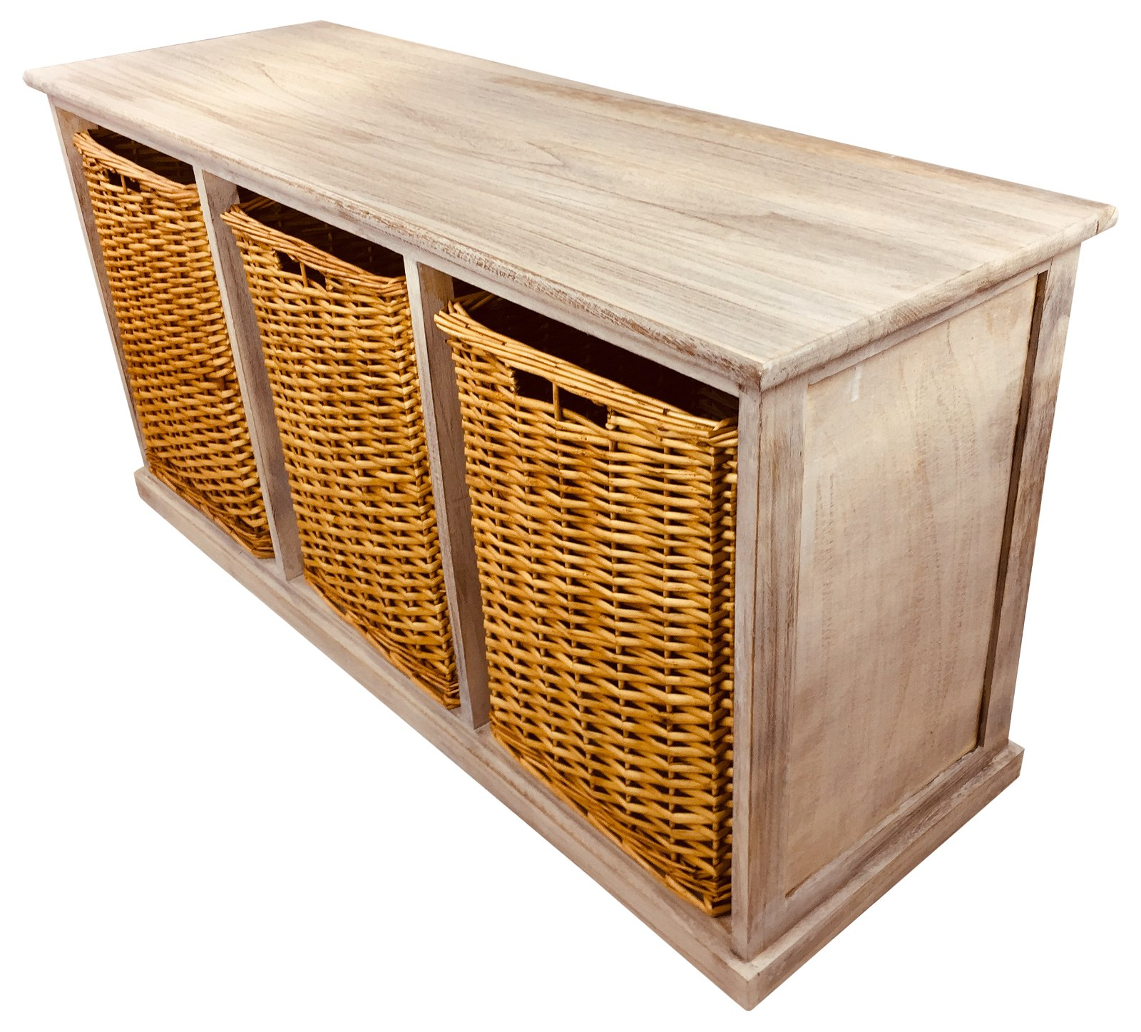 Wooden Storage Bench With 3 Large Baskets 101cm