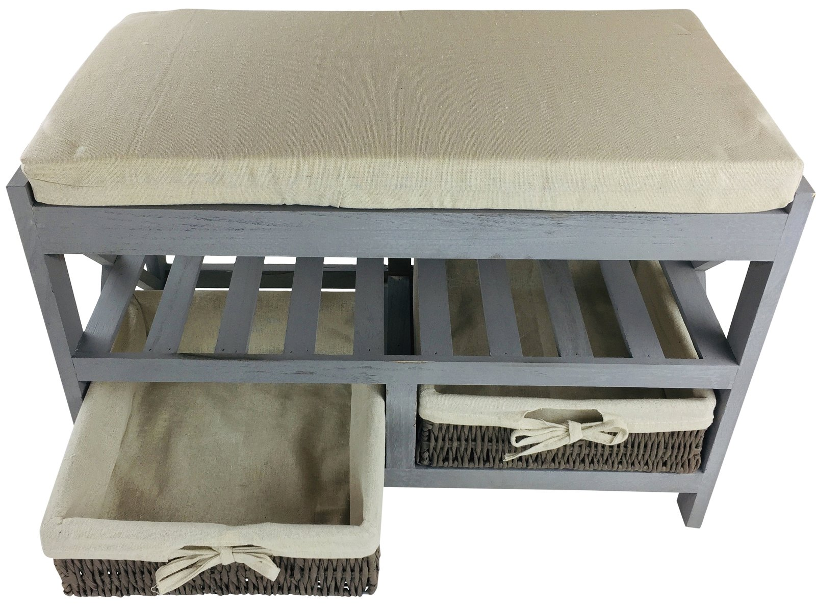 Seat Bench With Cushion and 2 Baskets 65cm